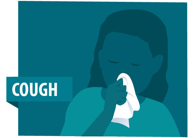 Cough with illustration of person wiping their nose